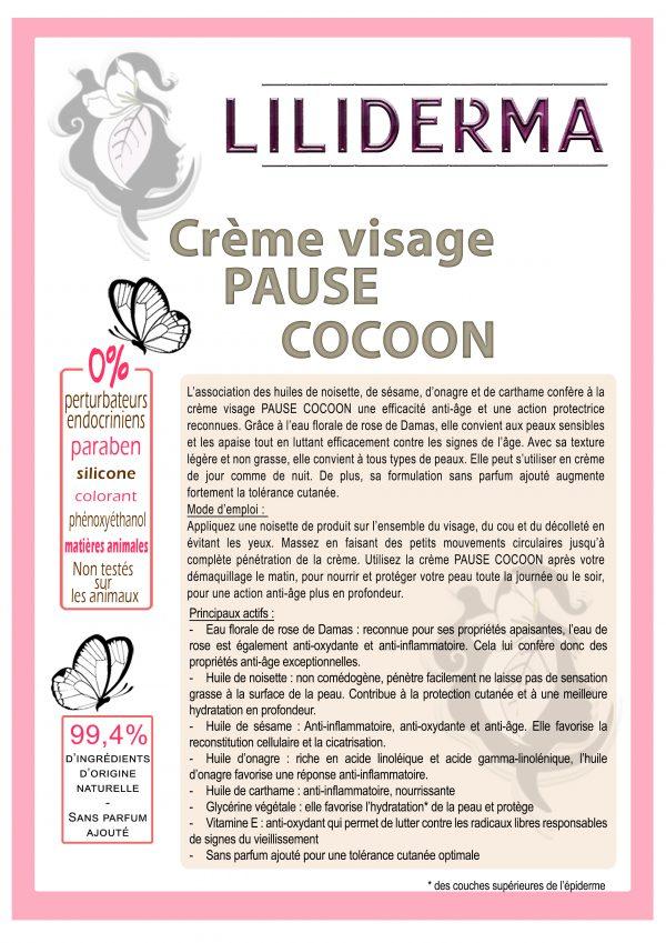 Crème visage anti-âge Pause Cocoon visage- Cosmétiques naturels sans perturbateurs endocriniens LILIDERMA
