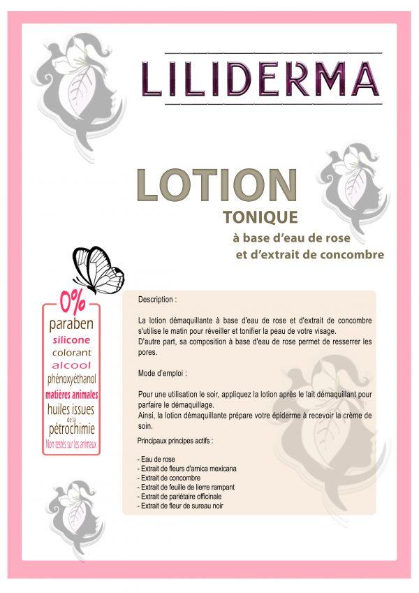 Fiche technique Lotion tonique à base d'eau de rose - LILIDERMA - Cosmétiques naturels sans perturbateurs endocriniens fabriqués en France