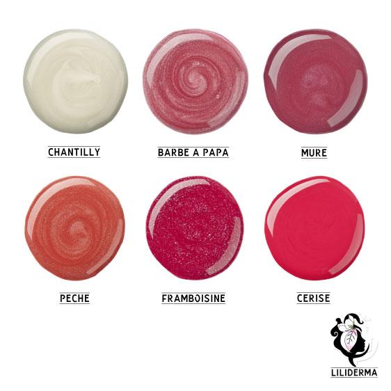 Nuancier Gloss à lèvres naturels sans paraben fabriqués en France non testés sur les animaux Sorbet Glossy Liliderma