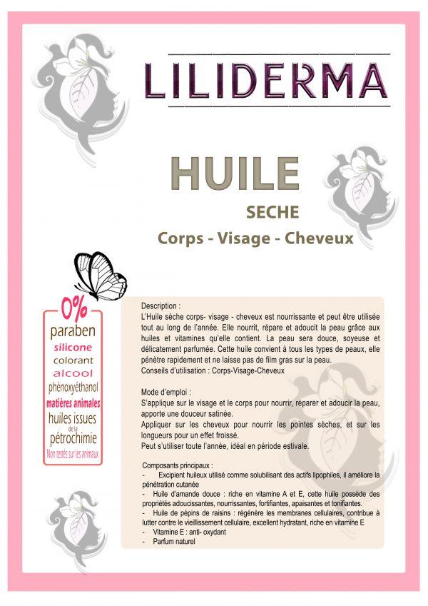 Fiche technique Huile sèche corps visage cheveux - LILIDERMA - Cosmétiques naturels sans perturbateurs endocriniens fabriqués en France