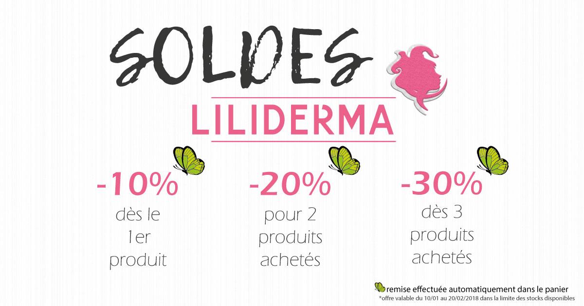 Soldes hiver 2018 Produits cosmétiques naturels fabriqués en France non testés sur les animaux Liliderma