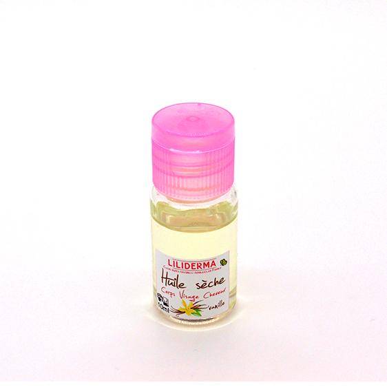 Huile sèche Vanille format voyage - Cosmétiques naturels sans perturbateurs endocriniens fabriqués en France - LILIDERMA