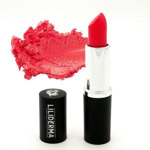 Rouge à lèvres rouge mat tenue longue durée sans paraben à base de cires naturelles non testé sur les animaux fabriqué en France - Coquelicot - LILIDERMA