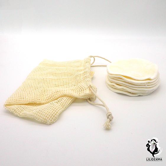 Set de 8 disques à démaquiller lavables et leur pochette de lavage - LILIDERMA - Cosmétiques naturels fabriqués en France