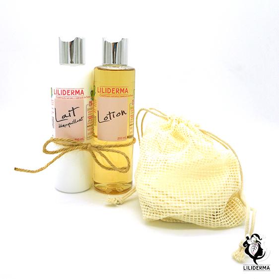 Set démaquillage lait et lotion démaquillants et leur set de 8 disques à démaquiller lavables - LILIDERMA - Cosmétiques naturels sans perturbateurs endocriniens fabriqués en France