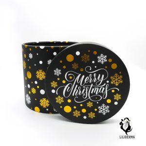Boîte cadeau ronde Noël noire et or - Envoyez vos cadeaux pour les fêtes directement depuis notre site ! - Cosmétiques et bien-être naturels fabriqués en France LILIDERMA