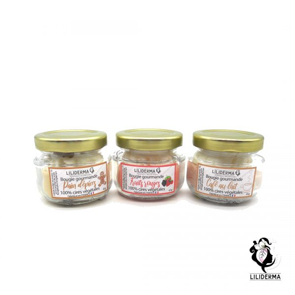 Trio de bougies gourmandes parfumées Noël- Bougies végétales fabriquées en France LILIDERMA