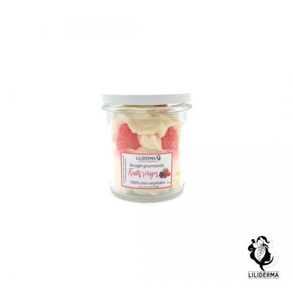 Bougie gourmande Bocal de fraises -Fruits rouges - Bougies végétales fabriquées en France LILIDERMA